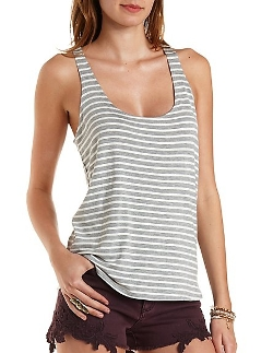 Charlotte Russe - Scoop Neck Striped Tank Top