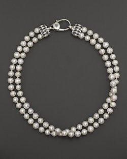 Lagos Sterling Silver  - Luna Freshwater Pearl Double Strand Necklace