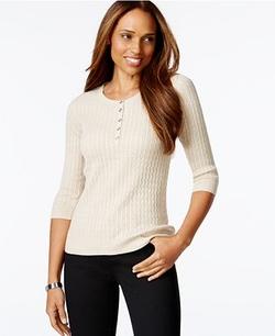 Karen Scott  - Petite Marled Henley Sweater