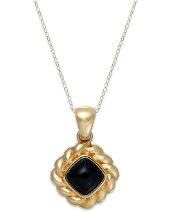 Signature Gold - Onyx Rope Pendant Necklace