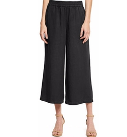 Eileen Fisher - Elastic-Waist Wide Cropped Pants