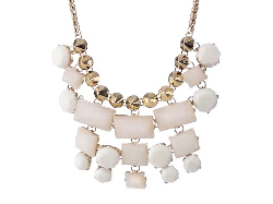"Kensie  - ""White Lie"" Gold-Plated White Stone Bib Necklace"