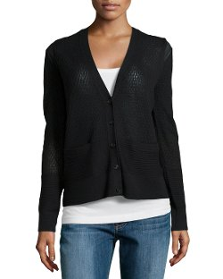 Halston Heritage  - Pointelle Knit Button Cardigan Sweater