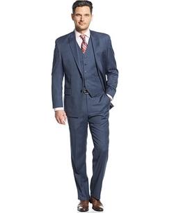 MICHAEL Michael Kors - Blue Tight Stripe Vested Suit