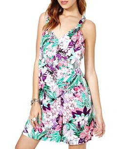 Chicnova - V-neck Flower Print Sleeveless Jumpsuit