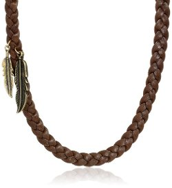 Ettika  - Braided Deerskin with Brass Feather Pendant Necklace