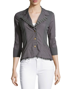 XCVI - Eloise Ruffle-Trim Blazer Jacket