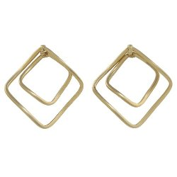 Bensofia Jewelry  - 14k Yellow Gold Double Square Hoop Earring