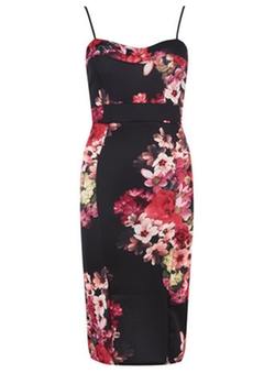 Jolie Moi - Black Floral Bandeau Dress