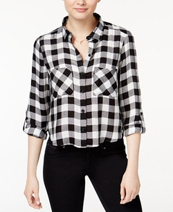 Polly & Esther - Cropped Plaid Shirt