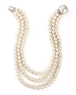 Majorica Jewelry Ltd   - Three-Strand Pearl Necklace
