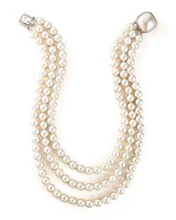 Majorica Jewelry Ltd   - Three-Strand Pearl Necklace