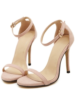 Romwe - Nude Stiletto High Heel Ankle Strap Sandals