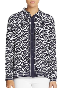 Equipment - Shiloh Heart-Print Silk Blouse