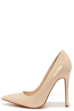Aisle Be Waiting - Nude Patent Pointed Pumps
