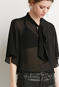 Forever 21 - Contemporary Self-Tie Neck Cropped Blouse