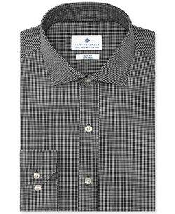 Ryan Seacrest Distinction  - Non-Iron Slim-Fit Black Gingham Dress Shirt