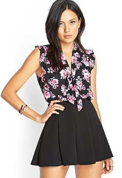 Forever 21 - Floral Print Tie-Front Blouse