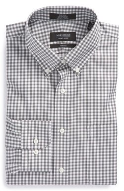 Nordstrom  - Non-Iron Trim Fit Gingham Dress Shirt