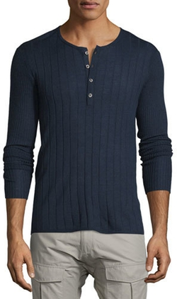 John Varvatos Star USA - Ribbed Long-Sleeve Henley Shirt