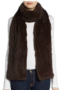 Saks Fifth Avenue Black - Knitted Rabbit Fur Scarf