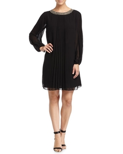 Marc New York by Andrew Marc - Pleated Chiffon Long-Sleeve Dress