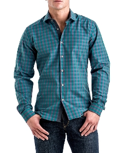 Rose - Light Teal And Gray Check Sport Shirt
