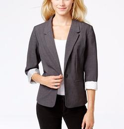 Kensie  - Long-Sleeve Faux-pocket Blazer