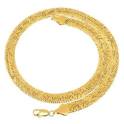 Herringbone  - Mens 14k Gold Plated Classic Flat Herringbone Mirror Chain