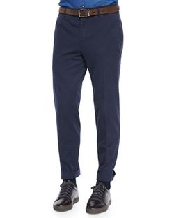 Brunello Cucinelli   - Flat-Front Cotton Pants