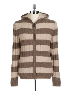 Black Brown 1826 - Striped Hooded Cable Knit Sweater