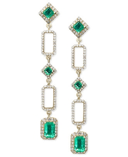 Effy - Emerald and Diamond Geometric Drop Earrings