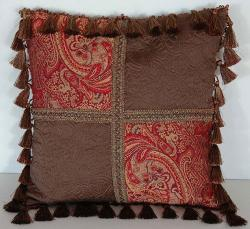 Backyard Bargain - Throw Pillow Square Tuscany W/tassel Fringe