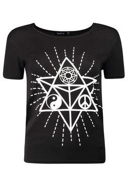 Boohoo - Olivia Triangle Symbol Print Slim Tee