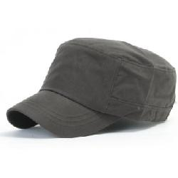 ililily  - Military Flat Top Biker Cotton Cadet Cap with Adjustable Strap (cadet-417)