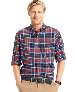 Izod - Long-Sleeve Plaid Shirt