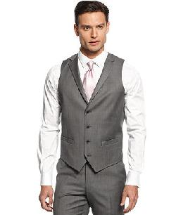 Alfani RED  - Vest Mid-Grey Stepweave Slim Fit