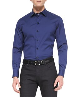 Armani Collezioni   - Stretch-Cotton Dress Shirt, Blue