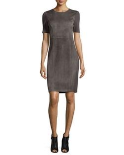Elie Tahari - Emily Short-Sleeve Suede Sheath Dress