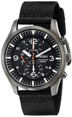 Seiko  - Black Canvas Strap Stainless Steel Watch