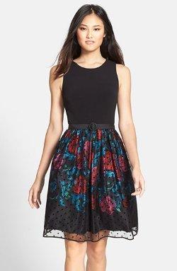 Eliza J - Belted Mixed Media Fit & Flare Dress