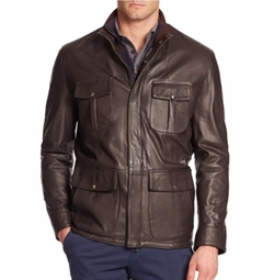 Isaia  - Stand Collar Leather Jacket