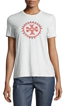 Tory Burch - Demi Embellished Logo Tee