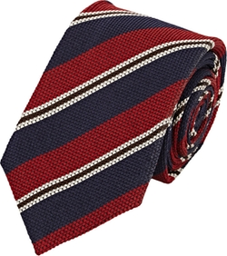 Isaia  - Diagonal-Striped Hopsack Necktie