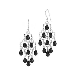 JCPenney - Faceted Onyx Sterling Silver Chandelier Earrings