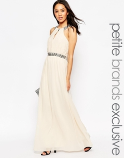 Little Mistress Petite  - Embellished Halter Maxi Dress