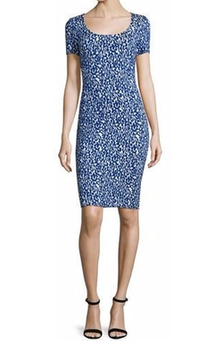 St. John Collection  - Paisley Knit Square-Neck Sheath Dress