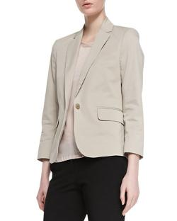 Theory Icon  - Fine Twill Button Blazer, Khaki