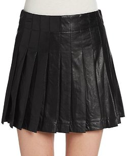 Saks Fifth Avenue Red - Pleated Faux Leather Mini Skirt