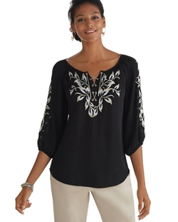 White House Black Market - Chain Lace Front Embroidered Blouse